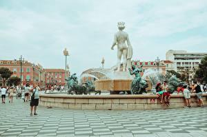 Pictures France Fountains Sculptures Town square Place de Massena, Nice, Fountain Sun, Apollo