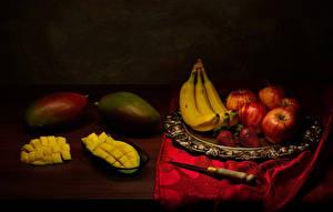 Fotos Obst Bananen Avocado Äpfel Erdbeeren Messer Stillleben Lebensmittel