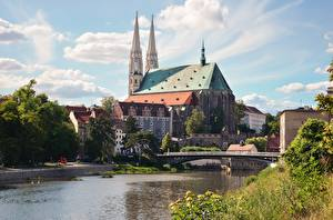 Picture Germany Bridges Rivers Church Saints Peter and Paul, Saxony, Goerlitz, Neisse Cities