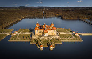 Image Germany Castle Lake Island From above Moritzburg Castle Cities