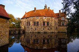Desktop wallpapers Germany Castle Pond Bridges Vischering Castle Cities
