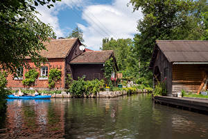 Pictures Germany Houses Boats Village Canal village Lehde Cities