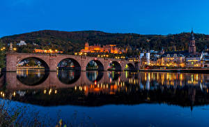 Photo Germany Building River Bridge Evening Heidelberg