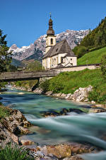 Image Germany Mountains Church Rivers Bridges Bavaria Alps Berchtesgadener Nature