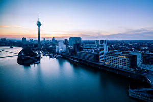 Pictures Germany Sunrise and sunset River Tower Horizon Rheinturm, Rhine, Dusseldorf, Rhenish-Ruhr region, North Rhine-Westphalia