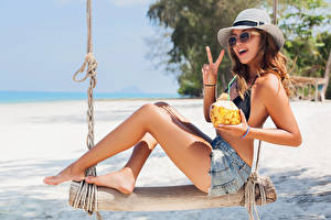 Picture Gesture Bokeh Rest Brown haired Hat Hands Shorts Legs Swing Smile young woman