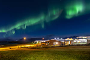 Picture Iceland Houses Northern light Night Street lights Nature