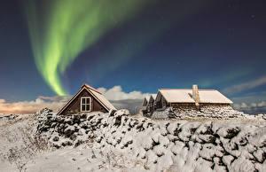 Bakgrunnsbilder Island Hus Vinter Stjerne Himmel Snø Aurora polaris Reykjavik Natur