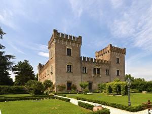 Hintergrundbilder Italien Burg Straßenlaterne Strauch Design Sforza Castle, Milan Städte