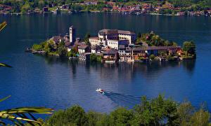Bilder Italien See Insel Gebäude Lago D'Orta Natur