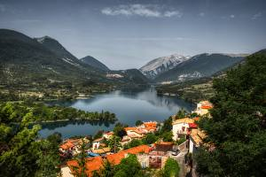 Wallpapers Italy Mountain Lake Forests Village Barrea, Abruzzo Cities