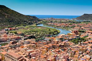 Wallpaper Italy River Houses From above Bosa, Sardinia, Oristano Cities