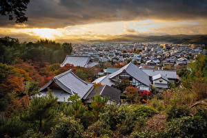 Image Japan Kyoto Mountains Building Roof Clouds Cities