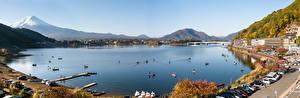 Bureaubladachtergronden Japan Berg Fuji vulkaan Een meer Panoramische Lake Kawaguchi Natuur