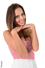 Picture Katya Clover iStripper White background Brown haired Staring Smile Hands female
