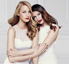 Image Brown haired Blonde girl Two Hugging Hands Glance Laetitia Casta, Blake Lively Girls