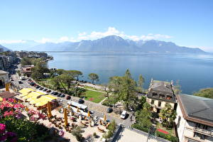 Picture Lake Coast Cafe Horizon From above Montreux, Lake Geneva Cities