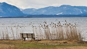 Wallpaper Lake Germany Mountains Bavaria Grass Bench Chiemgau Nature