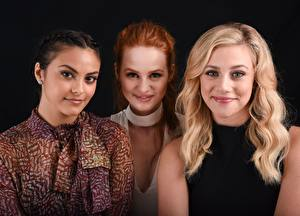 Pictures Blonde girl Redhead girl Brunette girl Staring Three 3 Smile Lili Pauline Reinhart, Madelaine Petsch, Camila Mendes Celebrities Girls