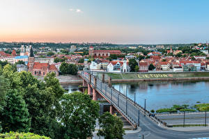 Pictures Lithuania Kaunas River Bridges river Nemunas, Great Bridge Cities