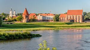 Wallpapers Lithuania Kaunas Rivers Castle river Neris, Kaunas Castle Cities