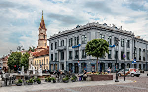 Wallpaper Lithuania Vilnius Houses Church People The Fountain Town square