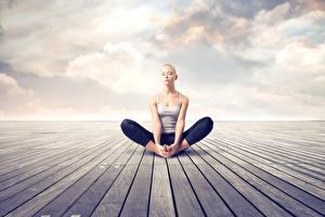Hintergrundbilder Lotussitz Yoga Erholung Sitzt Hand Bein Mädchens