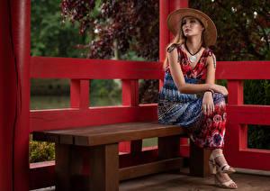 Wallpaper Bench Sitting Dress Gown Glance Magdalena Warszawa Staring