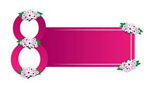 Fondos de Pantalla 8 marzo Matricaria Tarjeta de felicitación de la plant El fondo blanco Chicas imágenes