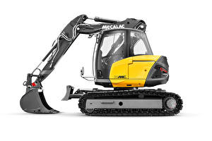 Picture Excavator Side Yellow White background Mecalac 15MC, 2018