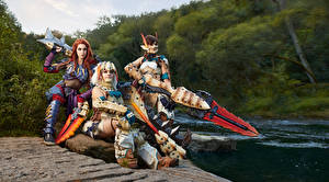 Pictures Mikhail Davydov photographer Monster Hunter Costume play Three 3 Armour Swords female Games Fantasy