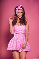Images Mila Azul Brown haired Frock Smile Bowknot Pink background female