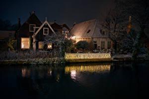 Bilder Niederlande Gebäude Kanal Nacht Zaun Edam