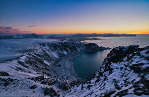 Wallpapers Norway Lofoten Coast Mountain From above Nature