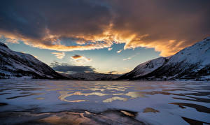 Wallpapers Norway Mountain Clouds Finnmark, fjord Nature