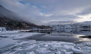 Picture Norway Mountain Lofoten Clouds Ice  Nature