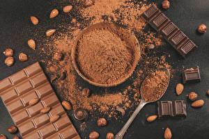 Bakgrunnsbilder Sjokolade Nøtter Sjokoladeplate Kakaopulver
