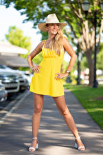 Pictures Olga Clevenger Blonde girl Pose Gown Hat Legs Bokeh young woman