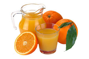 Desktop wallpapers Orange fruit Juice Highball glass Jugs White background Food