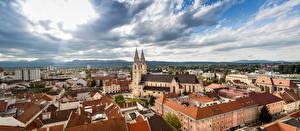 Bakgrunnsbilder Panorama Bygninger Katedral Østerrike Wiener Neustadt, Lower Austria, St. George's Cathedral byen
