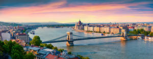 Picture Panorama Sunrises and sunsets Rivers Bridges Riverboat Budapest Hungary Horizon From above Danube, Chain bridge Cities