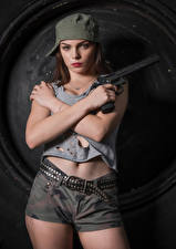 Wallpaper Pistol Modelling Posing Shorts Belt Singlet Baseball cap Hands Glance Klaudia Latto Army