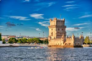 Fondos de escritorio Portugal Lisboa Cielo Río Torre Belem Tower