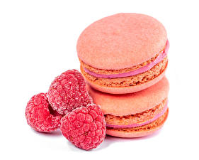Wallpapers Raspberry White background Two Macaron Food