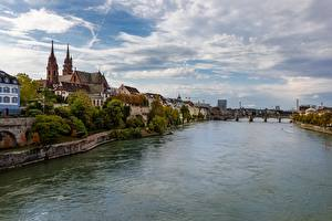 Pictures River Bridge Switzerland Basel, Rhine, Munster Cities