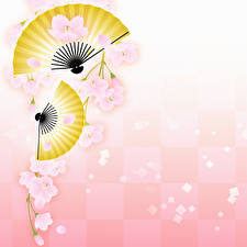 Wallpaper Cherry blossom Hand fan Branches