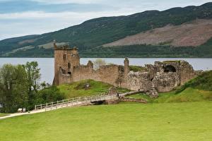 Fotos Schottland Burg See Ruinen Gras Loch Ness Natur