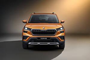 Wallpaper Skoda CUV Front Metallic Kushaq, India 2021 Cars