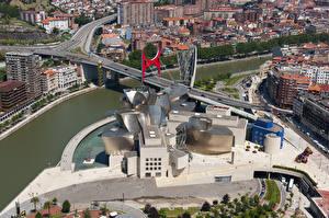 Fondos de Pantalla España Puentes Ríos Desde arriba Museo Guggenheim Museum, Bilbao, Biscay, Nervion River Ciudades imágenes