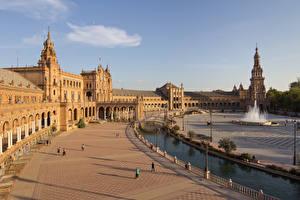 Fonds d'écran Espagne Fontaine Pont Place de la ville Réverbère Plaza de Espana, Seville, Andalusia